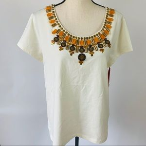 Ruby Rd. NWT Beaded Beige Tan Cream Top XL
